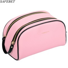 SAFEBET Brand Fashion Women High Quality PU  Multifunctional cosmetic case Male Big Capacity Waterproof Organizer Cosmetic Bag