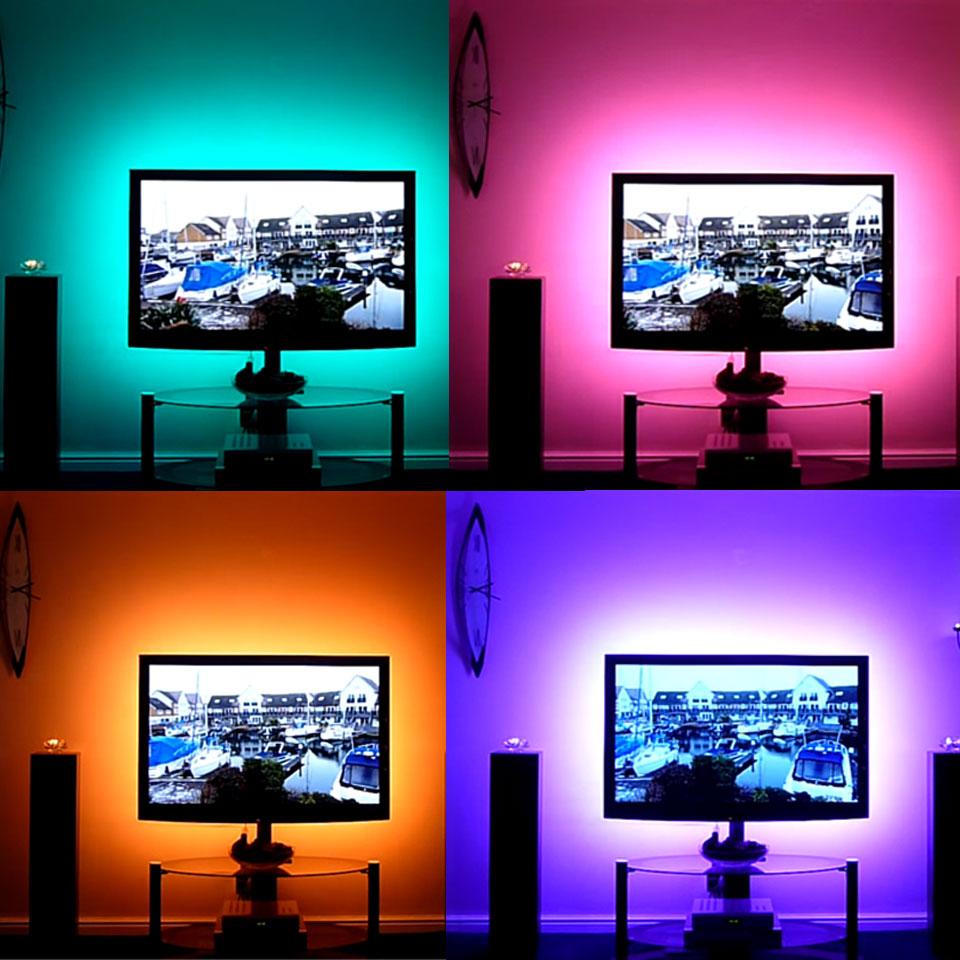 1m 2m 3m 4m 5m DC 5V RGB Flexible USB Led Strip Light 5050 SMD Sting IP20 Ribbon Adhesive Tape TV Backlight 24Key RF Controller