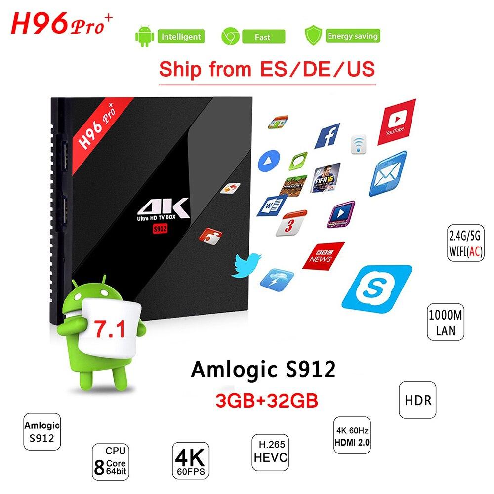 H96 PRO Plus Amlogic S912 Octa Core TV Box 3G 32G Dual WIFI Bluetooth 4.1 Android 7.1 Smart TV H.265 4K 1000LAN Media Player h96 pro plus tv box smart android 7 1 s912 bt4 1 octa core 4k 3gb 32gb 1000lan 2 4g 5 0g wifi media player pk x92 tx9 pro