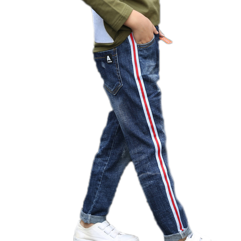 Striped Boys Jeans For Kids Pants Causal Elastic Waist Children Denim Trousers Boy Clothing Cowboy Spring Autumn Pencil Jeans new 2017 spring autumn fashion boys jeans for children slim casual pants children s elastic waist denim long pant hot sale