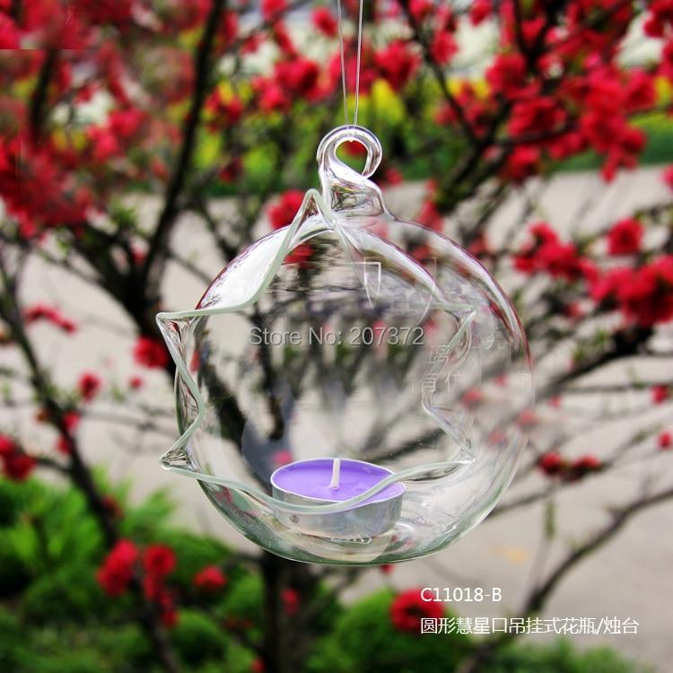 2pcs/set,Transparent Terrarium Borosilicate Hanging Glass candle holder & Tabletop candlestick Garden Home&Wedding Decoration