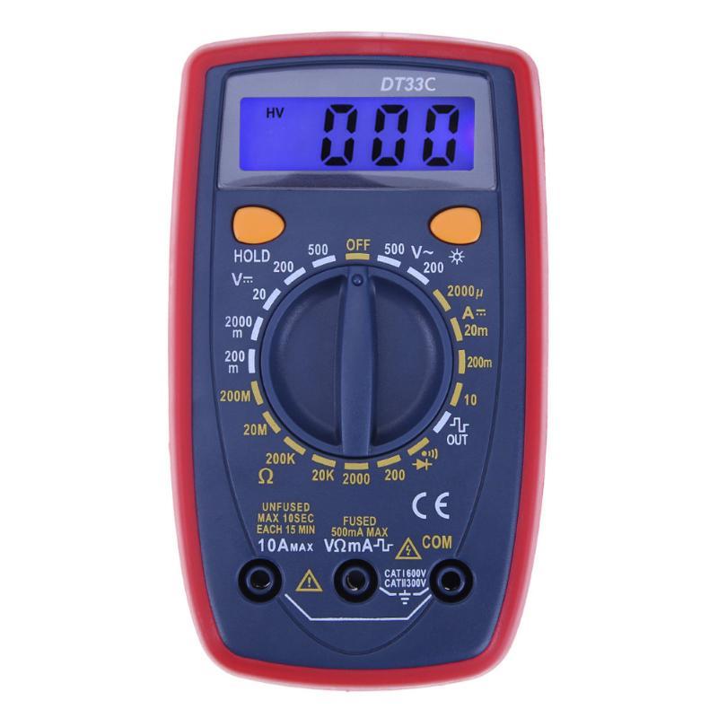 Portable LCD Digital Multimeter Backlight AC/DC Voltmeter Ammeter Resistance Temperature Voltage Current Tester