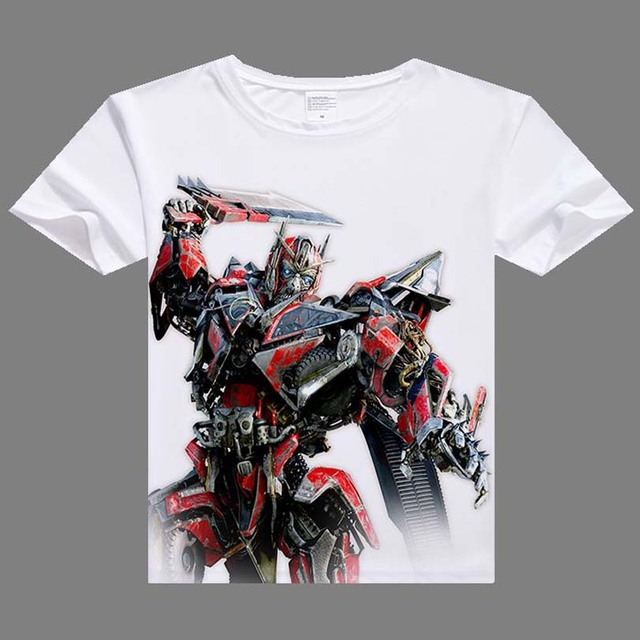 Casual Men T shirts Hot Optimus Prime Bumblebee Digital Printing T-shirt short sleeve men white shirt