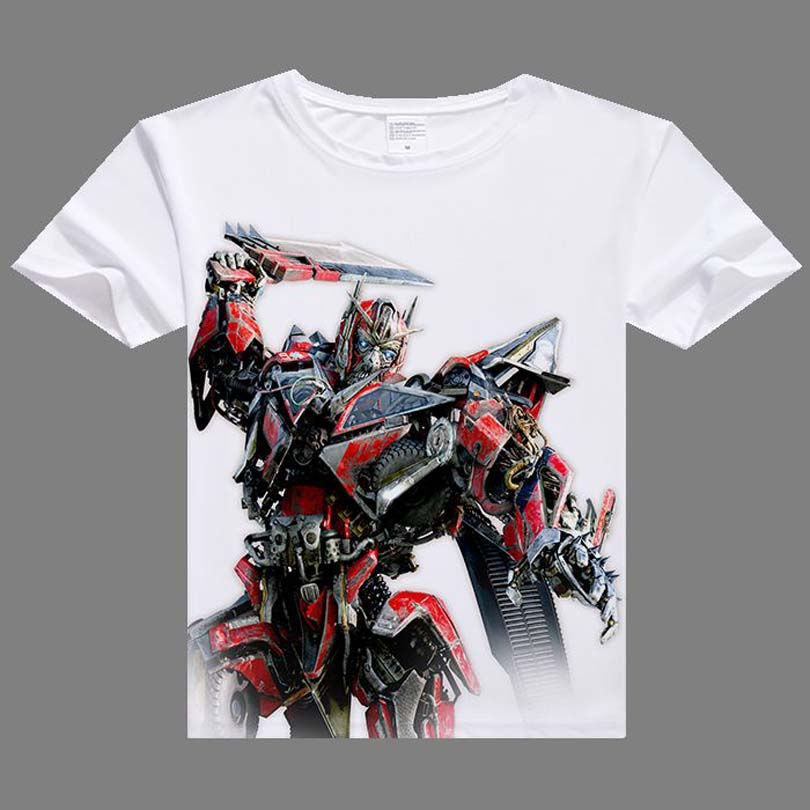 Casual Men   T     shirts   Hot Optimus Prime Bumblebee Digital Printing   T  -  shirt   short sleeve men white   shirt