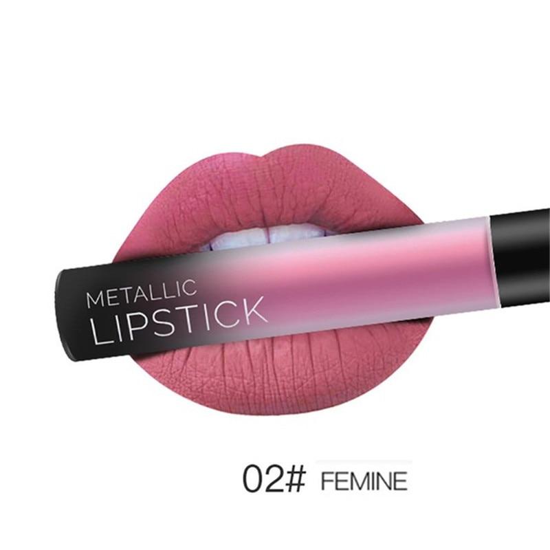 NEW 24 Colors Long Lasting Metallic Lip Gloss Red Velvet Matte Nude Liquid Lipstick Cosmetic Lips Makeup Women Gift Maquiagem 13