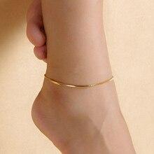 Женщин Золотой Тон Колено Трубы Сеть Ножной Браслет Босиком Сандалии Ног Ювелирные Изделия