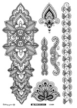 LS-604/Latest 2016 eco-friendly henna temporary body tatoo Indian mandala flower arm tattoo black lace sticker bracelet