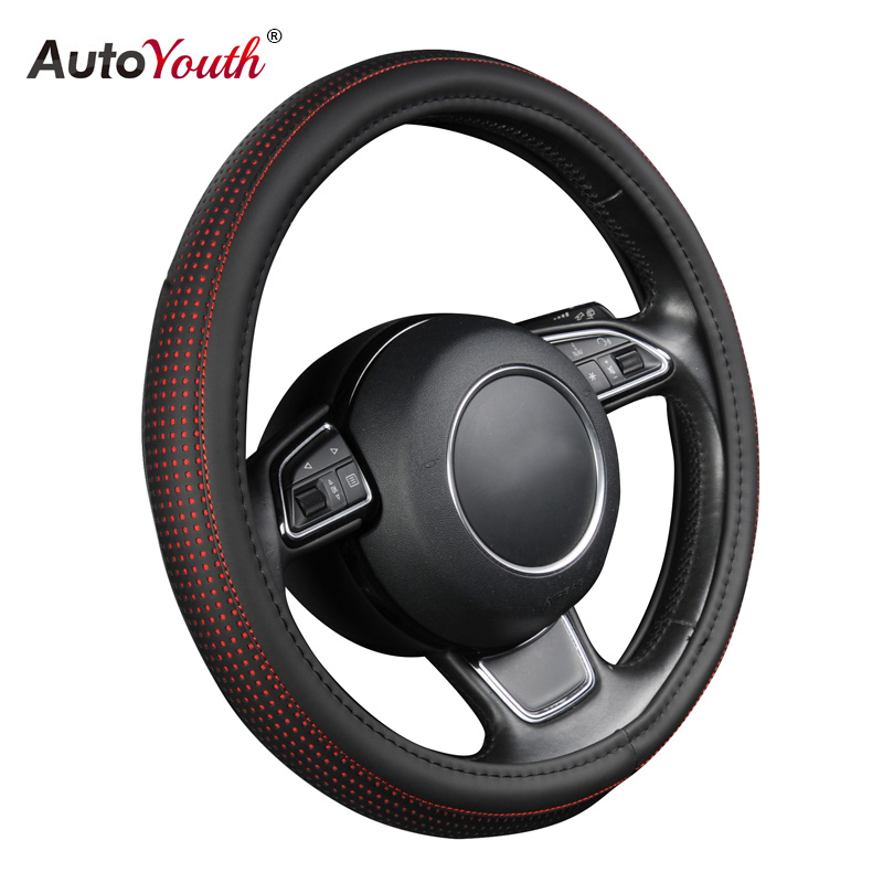 AUTOYOUTH Car Steering Wheel Cover Small Red Spot With Black Diameter 38cm Automotive Interior Accessories For Toyota Lada VW autoyouth hot car wheel cover pu leather steering wheel cover fit 38cm red wavy bold line for vw golf 4