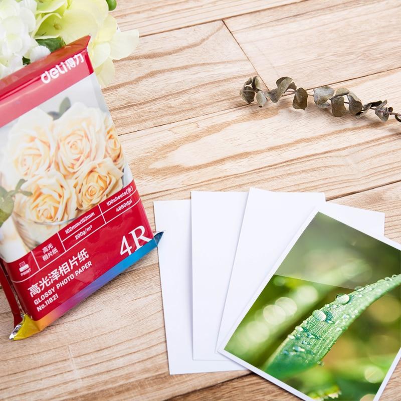 Купить с кэшбэком Deli luminous photo paper 11825 color ink jet paper A4 230g 20 sheets/bag printing photo paper suitable for all inkjet printer