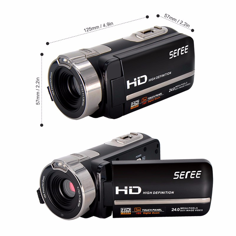 Marvie FHD 1080P 30FPSDigital Video Camcorder Night Vision Wide Angle Macro Fisheye Shooting 24MP 3 Inch Touch Screen Camera 3