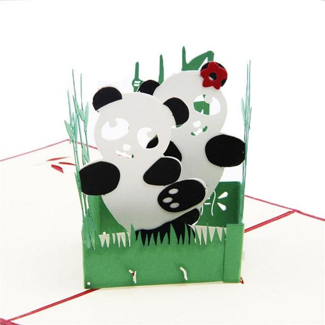 Panda Symbol Peace 3d Pop Up Card Friendship Childrens Day Happy
