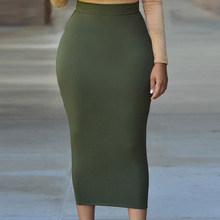 Femmes Taille Haute Moulante Jupe Pour Femmes Mi-veau Casual Jupe Office  Lady OL Jupe Solide Noir Gris Vert maxi Jupe HO906350 306d4422d576