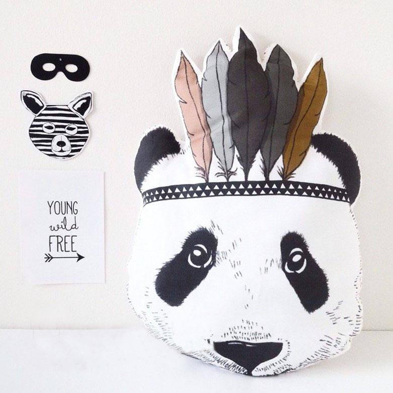 Ins Hot Cute Indian Style Panda Soft Stuff Plush Toy Panda Animal Pillow Cushion Children Room Bed Sofa Decoration Birthday Gift northern europe style double 3d printing ins doll plush sofa stuffed animal child toys birthday xams gift dash pillow cushion