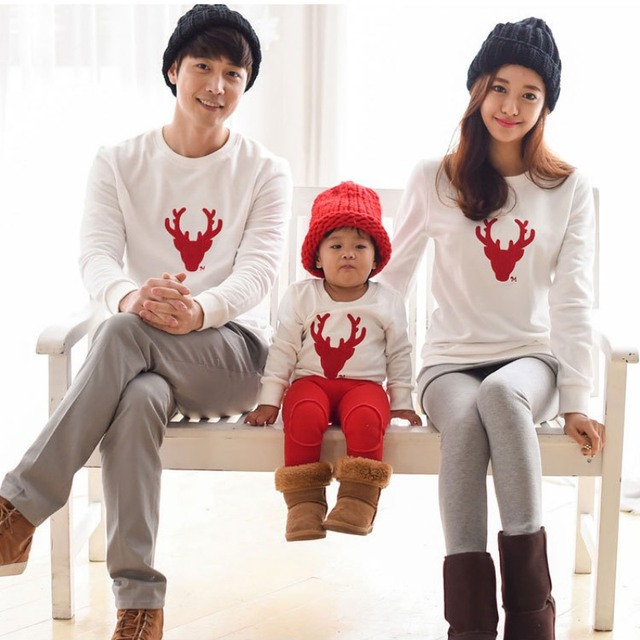 Family Christmas Sweaters Hoos Mother And Daughter Baby Matching Clothes Mommy Mama Love Sets