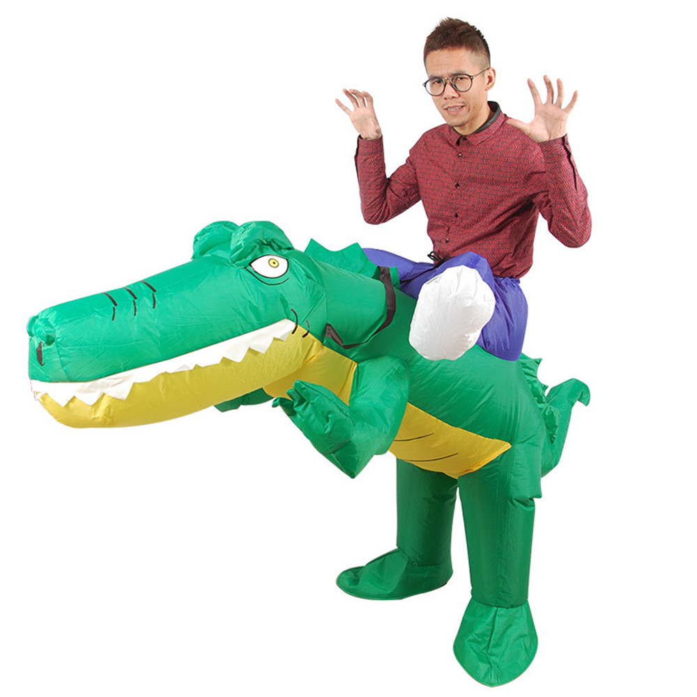 Cosplay inflatable green crocodile clothes cartoon animal mounter  Cycling pants riding costume for Halloween costume adult