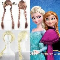 Essar Double Braid Coloured Anna Princess Single Crochet Box Braids Light Gold Cosplay Braided Wigs For