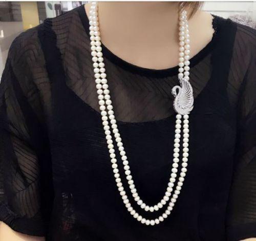 Bella NUOVO doppio strands8-9mm mare a sud bianco perla collana 22 24Bella NUOVO doppio strands8-9mm mare a sud bianco perla collana 22 24