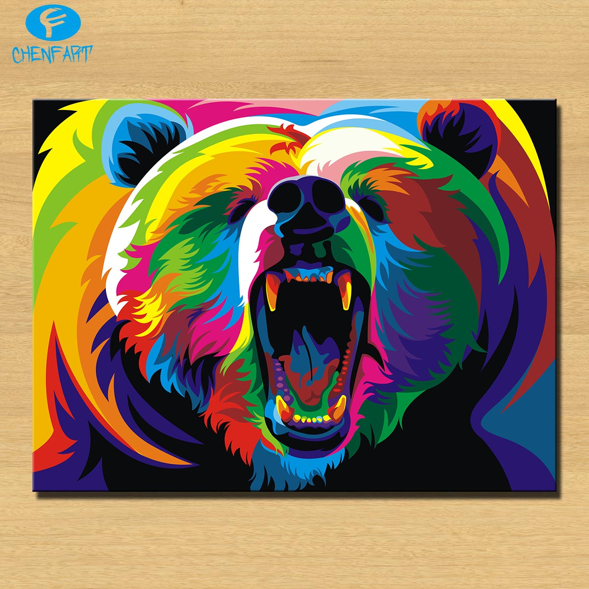 Pop Art Home Decor: Free Shipping Colorful Bear Pop Art Wall Painting Print On