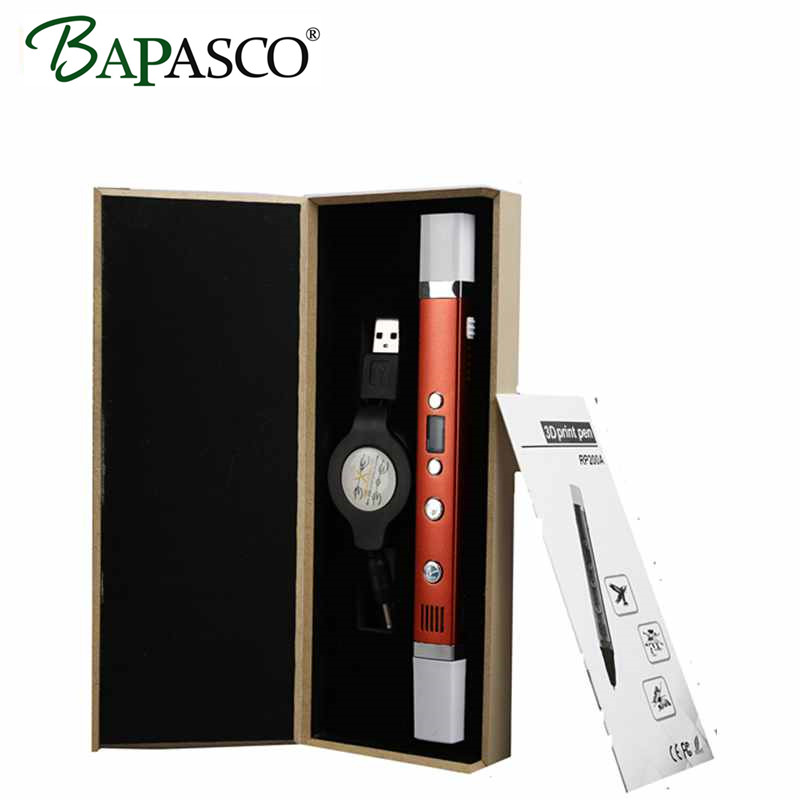 Portable 3D Pen For Kids Best DIY Gift BAPASCO 3TH Generation PEN 3P Model Simplest Creative