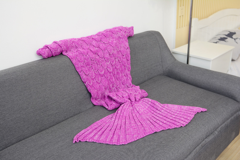 Image 5 - CAMMITEVER 180*90cm Big Mermaid Tail Blanket Crochet Mermaid Blanket for Adult, Soft All Seasons Sleeping Blankets-in Blankets from Home & Garden
