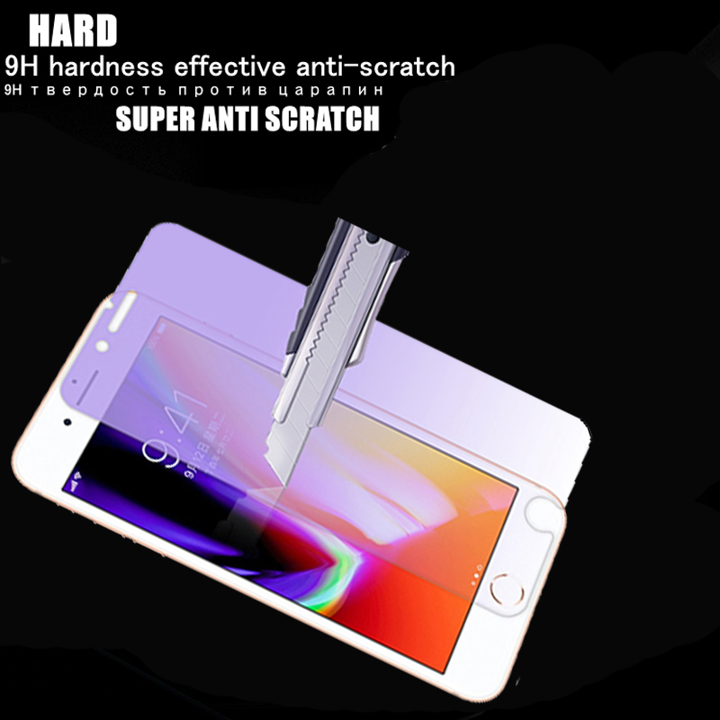Tempered Glass for Iphone X Screen Protector for Iphoe 6 7 8 Plus 5s Se Anti Blue Light Anti Purple Light Protective Film Glass