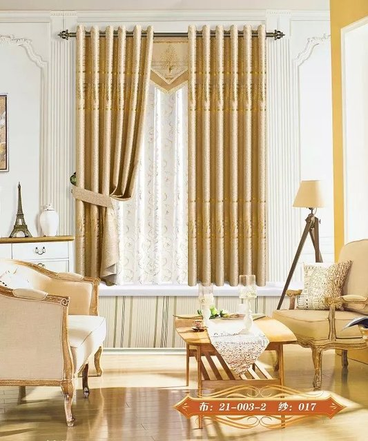 Only Fabric Gold Wide 210 CM Curtains Embroidery Curtain Hotel 5 Stars Bedroom