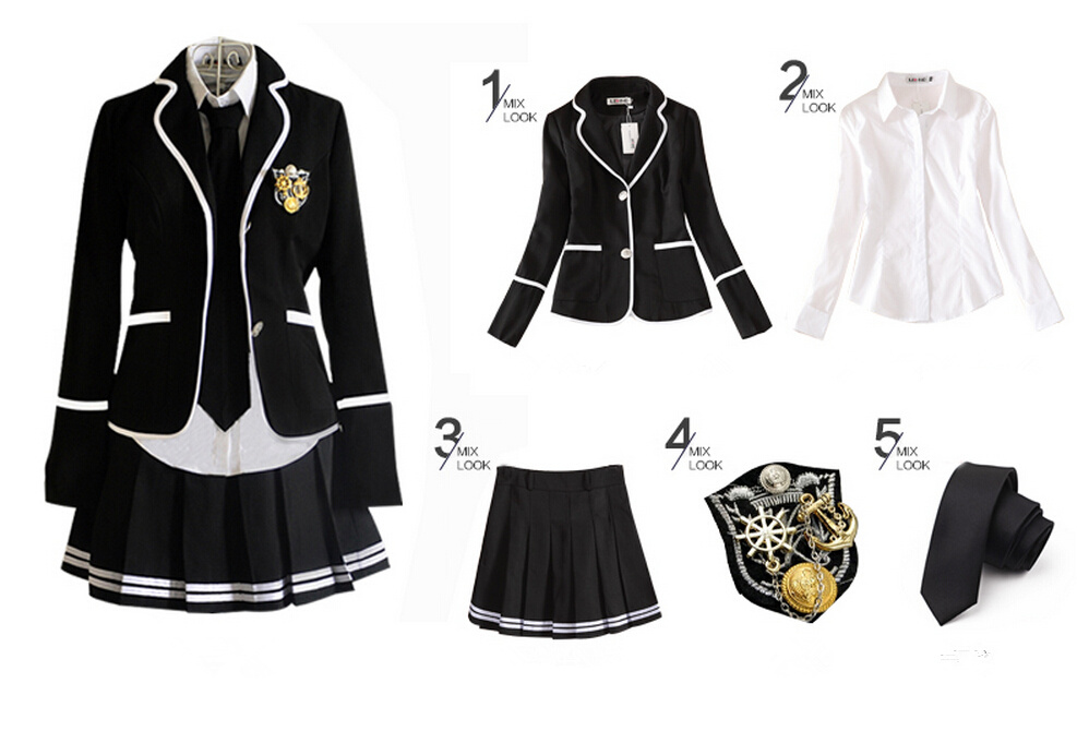 Cosplay Plaid Japanese School Uniform Costume.