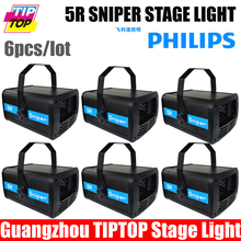 Envío gratuito 6 unids/lote Led luz de la etapa 5R francotirador discoteca DJ luz láser DMX 14/20 canales AC110V-240V 5R platino lámpara reflectora