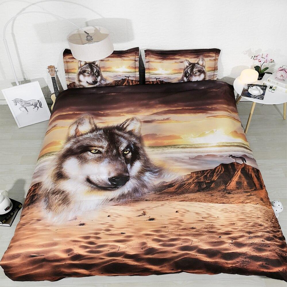 4 pièces par ensemble nouveau esprit loup 3d ensemble de lit 3d couverture de lit 3d linge de lit