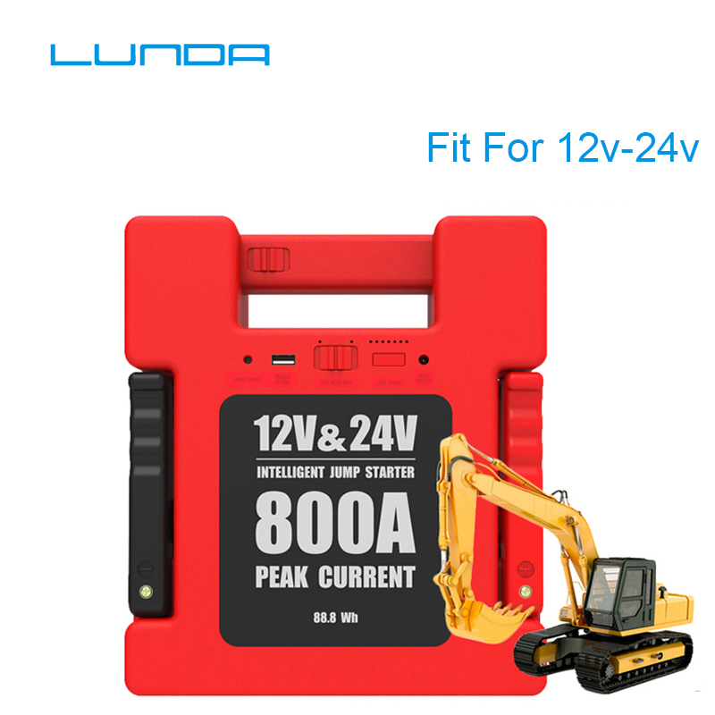 LUNDA Car Jump Starter Battery Portable charger Power bank with 24000mAh Capacity for 12V / 24 Volt Gasoline and Diesel Vehicle