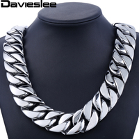 31mm 316L Stainless Steel Mens Boys Super Heavy Silver Tone Chain Curb Necklace Customized Wholesale Gift Jewelry LHN35