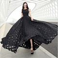 2016 Summer European and American Fashion Women Casual Elegant Slim Fit Black/White Maxi Long Floor Length Organza Dress Vestido