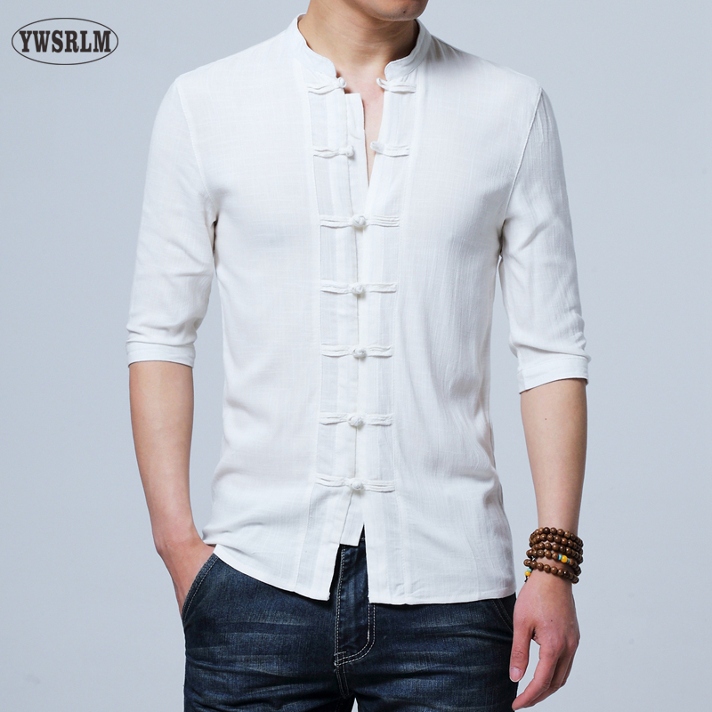 ec6412700c6ab YWSRLM Chinese style cotton Flax summer yarn men s shirt men s three  quarter sleeve shirt men s retro
