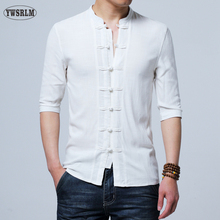Chinese style Flax summer pants embroidered yarn men's shirt men's long sleeve shirt men's retro cotton shirt