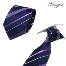 Vangise stripe Ties Mens Fashion Tie 8cm Blue Necktie Blue&purple  Color Neck For Men Business Red Wedding Shirt Accessory