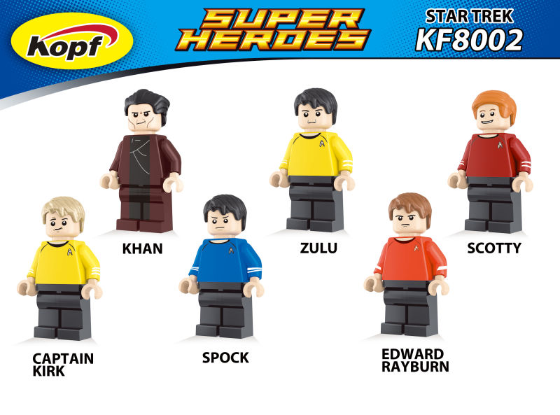 Super Heroes Star Trek Captain Kirk Scotty Spock Khan Zulu Eoward Tayburn Bricks Action Building Blocks Toys for children KF8002  star trek zulu eoward tayburn captain kirk khan scotty spock super heroes bricks model building blocks toys for children kf8002