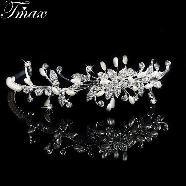 New Arrive Romantic Hair Wedding Jewelry Gift for Lover Simulated Pearl and Austrian Crystal Tiaras Crowns for Women Bijoux F050