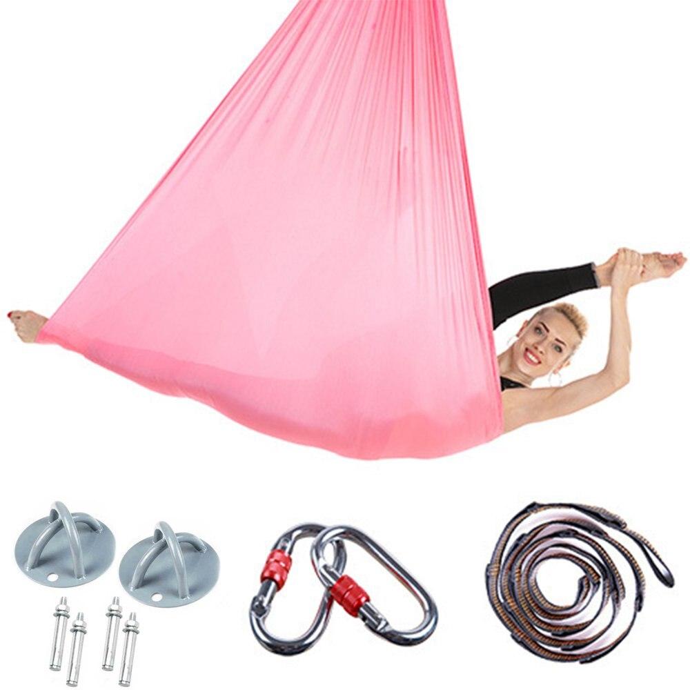 Plein 5*2.8 m Anti-Gravité hamac de Yoga Remise En Forme MIS Yoga ceintures extensibles Aérienne Swing Sling Inversion Outil pour Pilates /danse/Entraînement