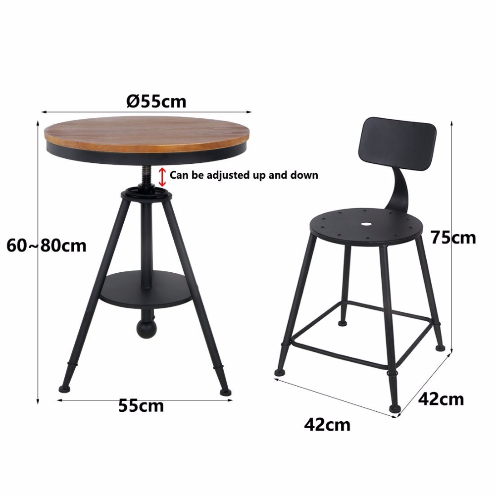 HLC Adjustable table chair set Kitchen Dining Table Set Bar Table Set Pub Bistro restaurant table set
