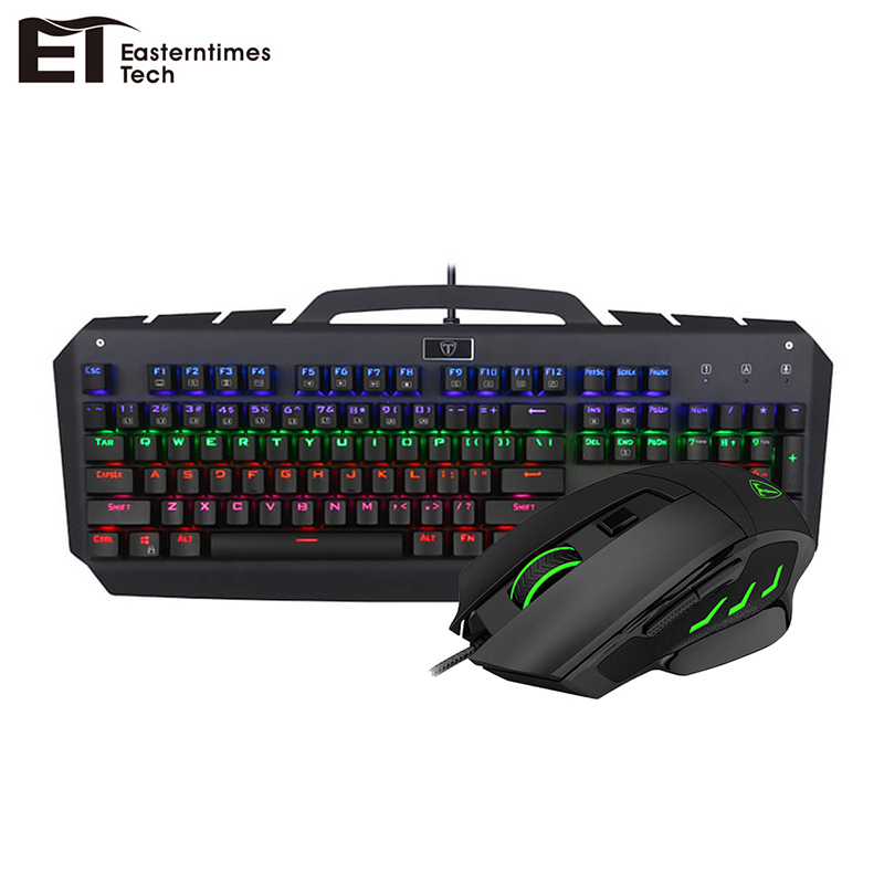 ET 104 Keys Wired Gaming Mechanical Keyboard Computer Gamer Keyboard Mouse Combo 7 Buttons Optical Gaming Mouse DPI Adjustable