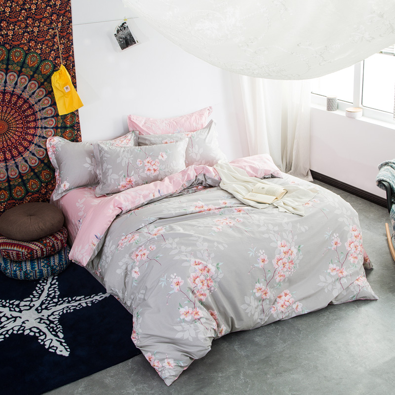 Brief Pink Floral Gray Bedlinens Queen King Full Size Duvet Cover Sets  Cotton Fabric Cartoon Customized Bedding Sets In Bedding Sets From Home U0026  Garden On ...