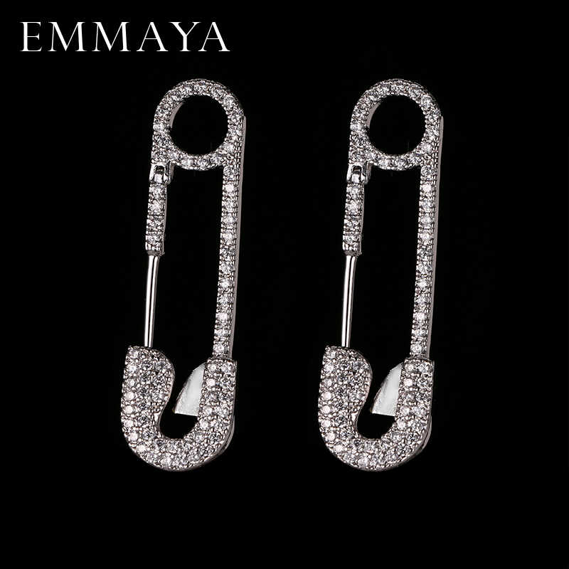 EMMAYA Fashion New Cz Jewelry Unique Silver-color Pin Earring Brand Design Stud Earrings for Women
