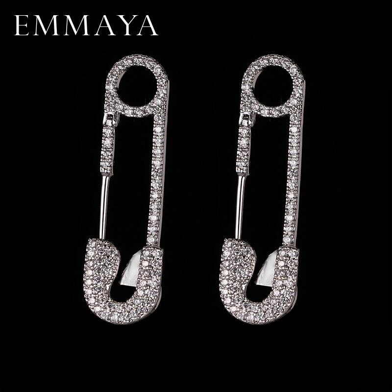 EMMAYA mode nouveau Cz bijoux Unique couleur argent broche boucle d'oreille conception de marque boucles d'oreilles pour les femmes