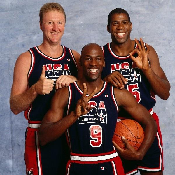 fc4f8d027726 1992 USA Dream Team Michael Jordan Larry Bird