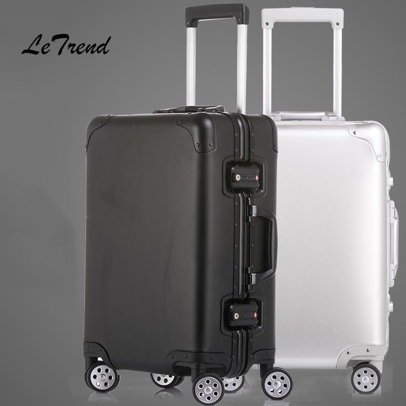 Letrend 100% Aluminum Alloy Rolling Luggage Spinner Women Trolley Suitcases Wheel Travel Bag Balck Men Business Carry On Trunk