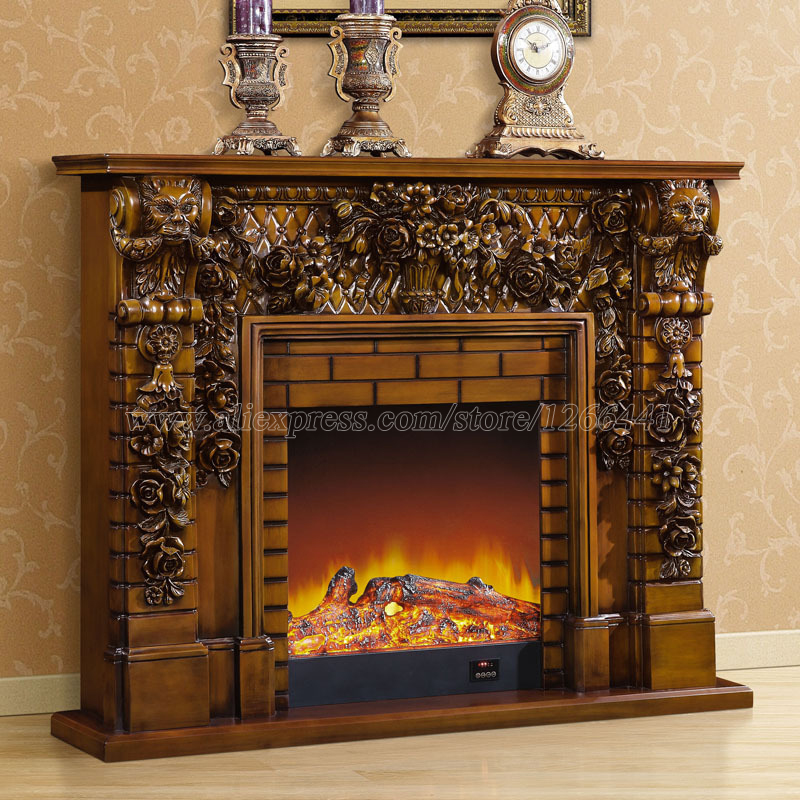 deluxe fireplace W150cm English style chimney wooden mantel plus electric fireplace insert burner artificial LED optical flame hearth