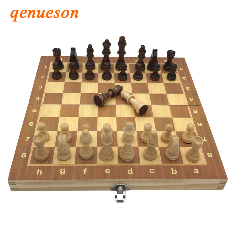 High Quality Factory wholesale Chess Classic Wooden Chess Set Board Games Foldable Magnetic Folding Board Packaging Wooden Chess 21 inch 53cm jumbo wooden chess box folding portable chess board standard international chess games toy