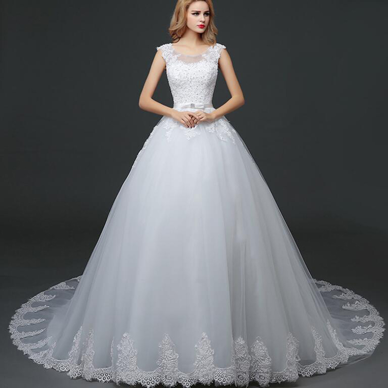 Sexy O-neck Short Train Lace Edge Lace Up Back Beads Applique Wedding Dress Real Photo Wedding Gown