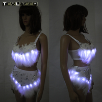 New Sexy Costumes Women LED Strobe Luminous Bra Shorts Sexy Suit Female Singer Stage Performance Sets Growing Costume