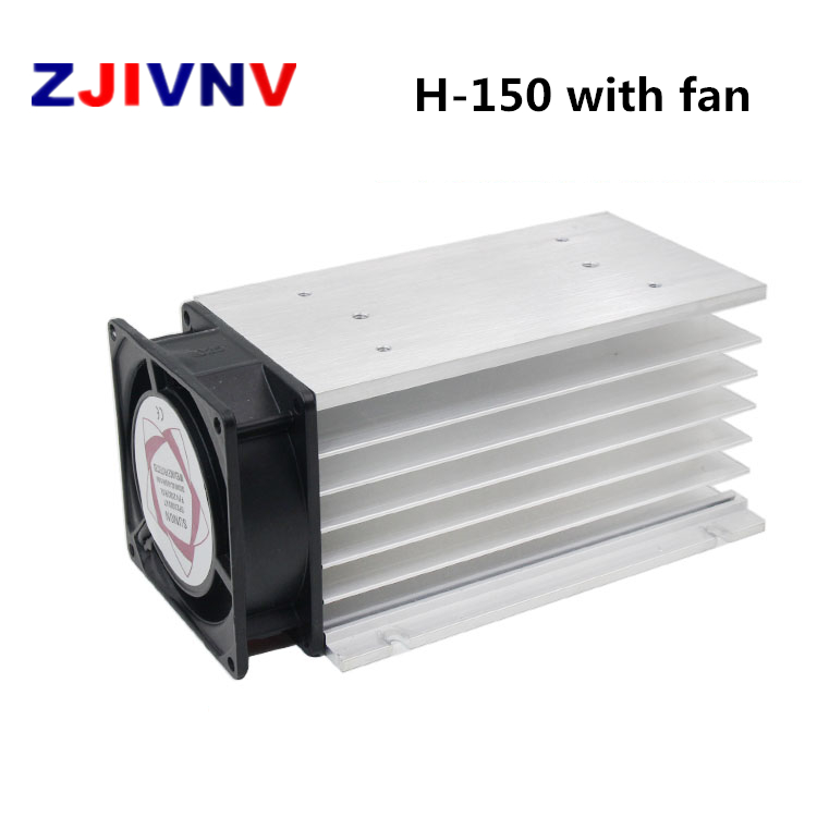 150*100*80 Mm 80A Three Phase Solid State Relay SSR Aluminum Heat Sink Radiator With 220VAC Fan And Protective Cover